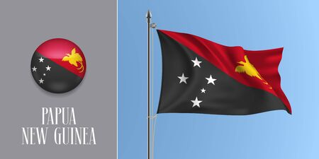 Papua New Guinea waving flag on flagpole and round icon vector illustration. Realistic 3d mockup with design of flag and circle button
