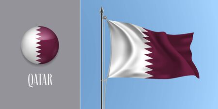 Qatar waving flag on flagpole and round icon vector illustration