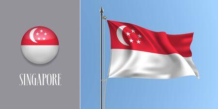 Singapore waving flag on flagpole and round icon vector illustration