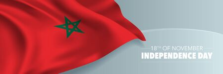 Morocco independence day vector banner, greeting card.