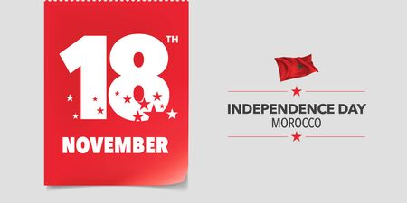 Morocco independence day greeting card, banner, vector illustration. Moroccan national day 18th of November background with elements of flag in a creative horizontal design Иллюстрация