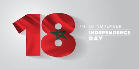 Morocco independence day greeting card, banner, vector illustration. Moroccan national day 18th of November background with elements of flag