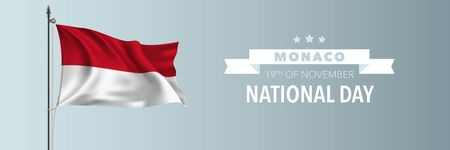 Monaco happy national day greeting card, banner vector illustration Illustration
