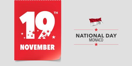 Monaco national day greeting card, banner, vector illustration