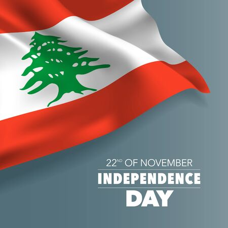 Lebanon independence day greeting card, banner, vector illustration