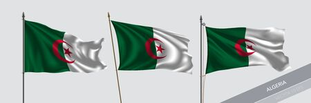 Set of Algeria waving flag on isolated background vector illustration. 3 Algerian wavy realistic flag as a symbol of patriotism