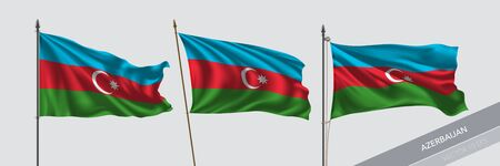 Set of Azerbaijan waving flag on isolated background vector illustration. 3 tricolor Azerbaijani wavy realistic flag as a symbol of patriotism Illustration