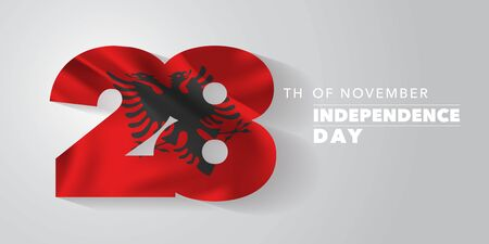 Albania happy independence day vector banner, greeting card Illustration