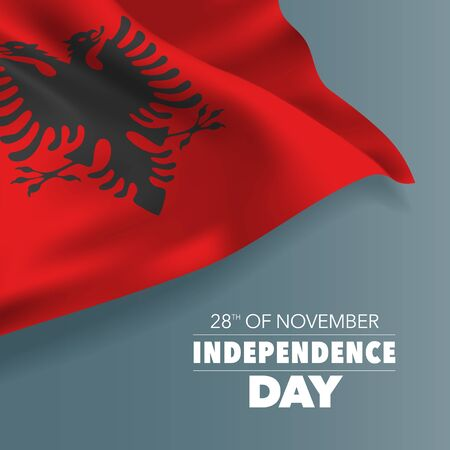 Albania independence day greeting card, banner, vector illustration Ilustração