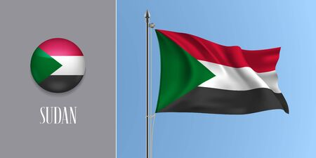 Sudan waving flag on flagpole and round icon vector illustration
