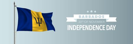 Barbados happy independence day greeting card, banner vector illustration. Barbadosian national holiday 30th of November design element with waving flag on flagpole