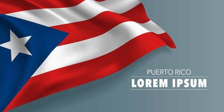 Puerto Rico independence day greeting card, banner with template text vector illustration. Puerto Rican memorial holiday template design element with flag with stripes and star