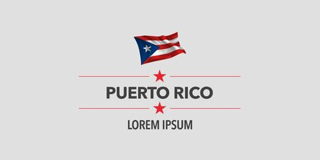 Puerto Rico national day greeting card, banner, vector illustration. Puerto Rican holiday design element with waving flag as a symbol of independence