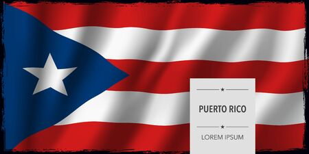 Puerto Rico template independence day greeting card, banner vector illustration. Puerto Rican national holiday design element with bodycopy 向量圖像