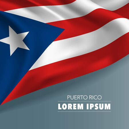 Puerto Rico template independence day greeting card, banner, vector illustration