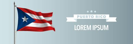 Puerto Rico template happy independence or national day greeting card, banner vector illustration. Puerto Rican holiday design element with waving flag on flagpole