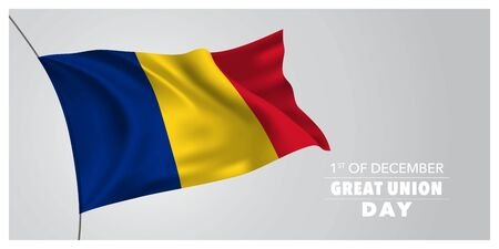 Romania great union day greeting card, banner, horizontal vector illustration