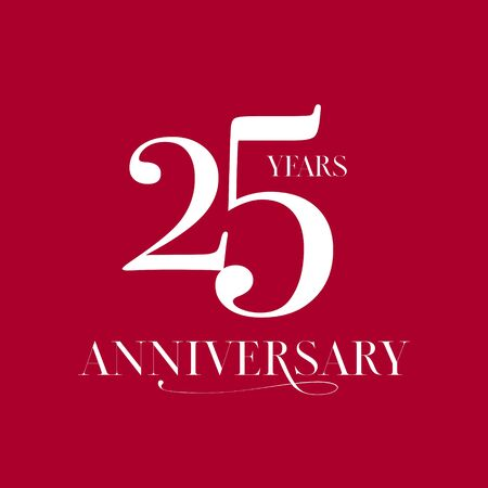 25 years anniversary vector logo, icon. Design element with number for 25th anniversary