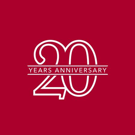 20 years anniversary vector icon, logo. Design element with composition of number and text