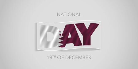 Qatar happy national day vector banner, greeting card.