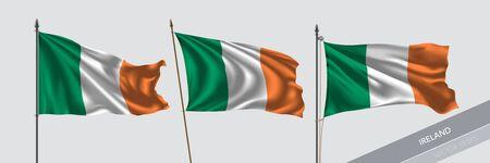 Set of Ireland waving flag on isolated background vector illustration. 3 Irish wavy realistic flag as a symbol of patriotism