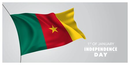 Cameroon independence day greeting card, banner, horizontal vector illustration. Cameroonian holiday 1st of January design element with waving flag as a symbol of independence