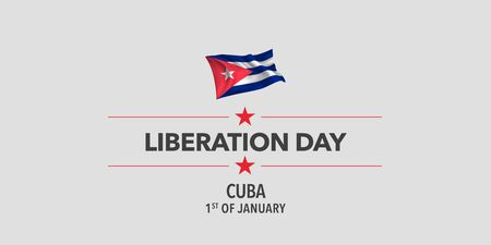 Cuba liberation day greeting card, banner, vector illustration.