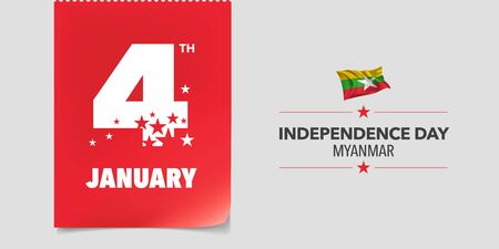 Myanmar independence day greeting card, banner, vector illustration