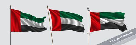 Set of United Arab Emirates waving flag on isolated background vector illustration Ilustração