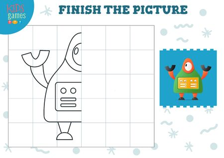 Copy and complete the picture vector blank game, illustration. Preschool kids drawing activity or exercise for learning and education with cartoon cute robot