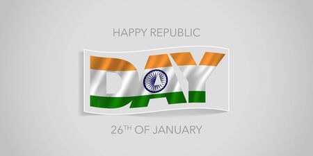 India happy republic day vector banner, greeting card. Indian wavy flag in nonstandard design for 26th of January national holiday Ilustração