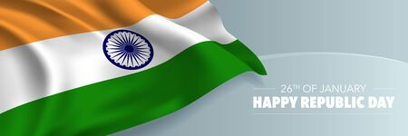India republic day vector banner, greeting card. Indian wavy flag in 26th of January national patriotic holiday