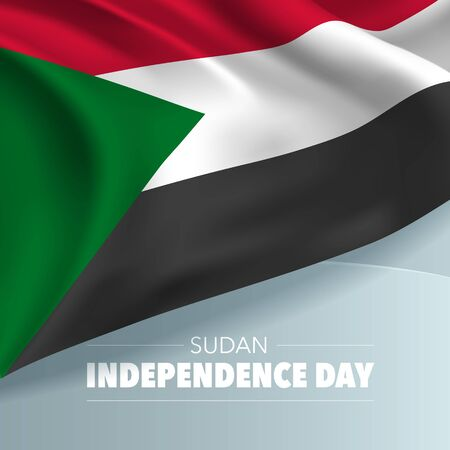 Sudan independence day greeting card, banner, vector illustration Illustration
