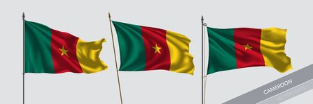 Set of Cameroon waving flag on isolated background vector illustration. 3 Cameroonian wavy realistic flag as a symbol of patriotism