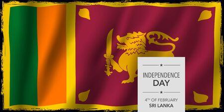 Sri Lanka independence day greeting card, banner vector illustration