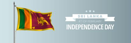 Sri Lanka happy independence day greeting card, banner vector illustration
