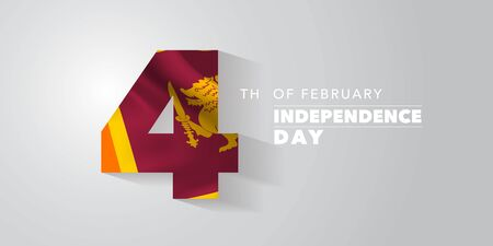 Sri Lanka happy independence day vector banner, greeting card. Sri Lankan wavy flag in nonstandard design for 4th of February national holiday