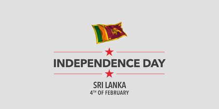 Sri Lanka independence day greeting card, banner, vector illustration. Sri Lankan holiday 4th of February design element with waving flag as a symbol of independence