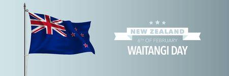 New Zealand happy waitangi day greeting card, banner vector illustration. New Zealandia national holiday 6th of February design element with waving flag on flagpole