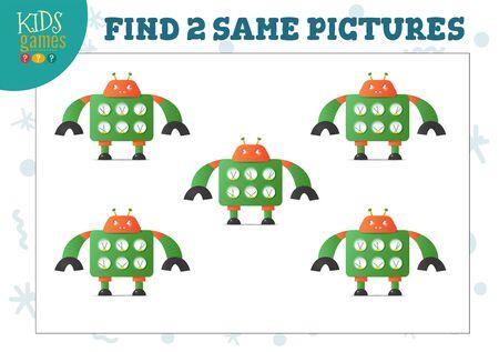 Find two same pictures kids game vector illustration. Illustration