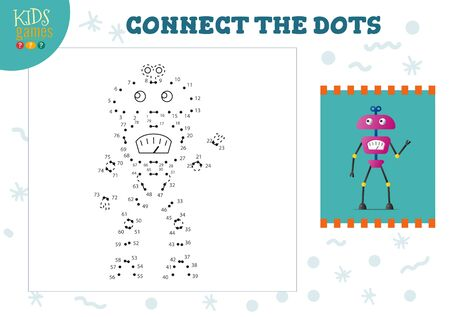 Connect the dots kids mini game vector illustration. t 일러스트