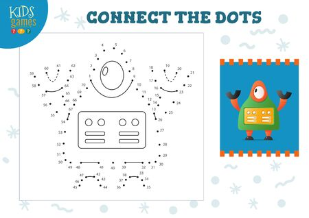 Connect the dots kids mini game vector illustration. 일러스트