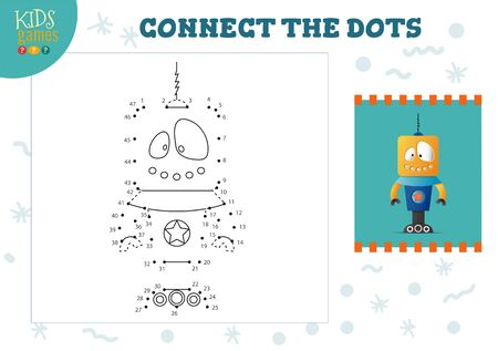 Connect the dots kids game vector illustration. Preschool children educational activity with joining dot to dot and coloring vintage robotic character