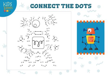 Connect the dots kids game vector illustration. Preschool children educational activity with joining dot to dot and colouring cute robot character