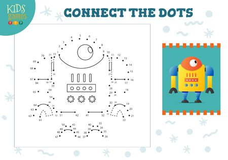 Connect the dots kids game vector illustration. Kindergarten children educational activity with joining dot to dot worksheet with funny big armed cartoon robotic character