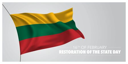 Lithuania restoration of the state day greeting card, banner, horizontal vector illustration