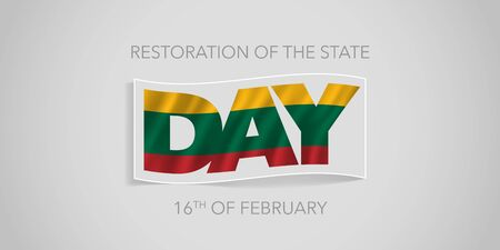 Lithuania happy restoration of the state day vector banner, greeting card