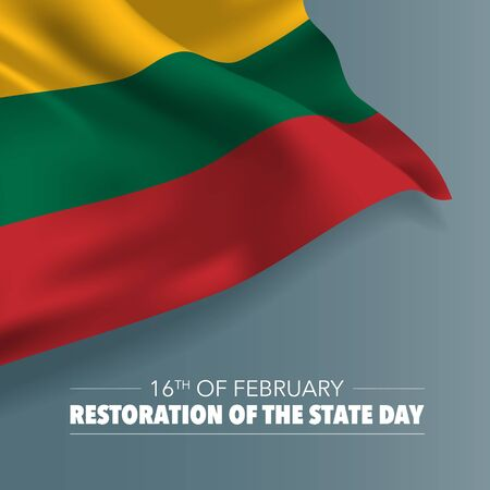 Lithuania restoration of the state day greeting card, banner, vector illustration 向量圖像
