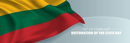 Lithuania restoration of the state day vector banner, greeting card 向量圖像