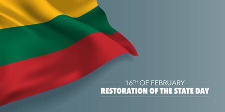 Lithuania restoration of the state day greeting card, banner with template text vector illustration